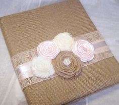 Burlap WEDDING GUEST BOOK with Photo Spot Burlap and by itsmyday, $58.00