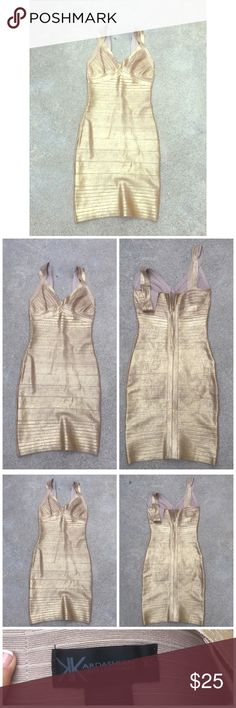 Gold goddess dress Kardashian collection gold goddess dress! Extremely fitting, good condition. Size xsmall Dresses