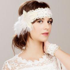 Bridal Ivory Beaded Flower Feather Headband  20s by NAFEstudio