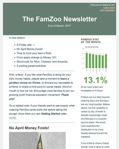 The end of March 2017 FamZoo monthly newsletter featuring: a Friday stat; tips to make sure your kids and their money are not soon parted; prodding to fund your working teen's Roth; turning the spare change jar into a Money 101 course; shout-outs for Allyn, Chelsea, and Amanda; and a parting paraprosdokian.