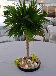 Miniature palm tree centerpiece for beach theme party (quinceanera decorations beach) Quinceanera Decorations, Quinceanera Party, Wedding Decorations, Luau Party, Beach Party, Wedding Beach, Wedding Reception, Wedding Ceremonies, Trendy Wedding