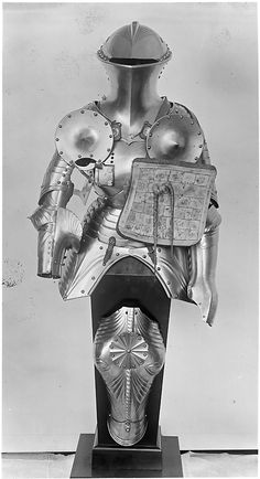 Armour for the joust with matching shaffron, eye holes covered to prevent the horse from veering Helmet Armor, Suit Of Armor, Arm Armor, Knight In Shining Armor, Knight Armor, Medieval Weapons, Medieval Knight, Elmo, Good Knight