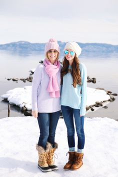 mom and daughter snow outfits