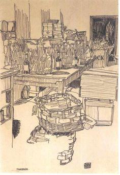 Packing room Packraum 1917 Egon Schiele via upload.wikimedia.org