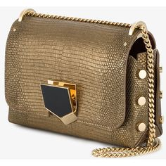 Jimmy Choo Gold Lizard Petite Lockett Shoulder Bag (1,105 BHD) ❤ liked on Polyvore featuring bags, handbags, shoulder bags, chain shoulder bag, studded handbags, jimmy choo purses, round handbags and gold purse
