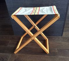 Vintage FOLDING CAMP STOOL Striped Canvas by BarnboardAntiques