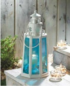 LIGHTHOUSE CANDLE LAMP Ocean Blue & White Nautical Decor Glass Lantern