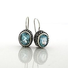 2246e0b6ccbc6d Sterling Silver Classic Balinese Bead and Scrollwork Genuine Oval Blue  Topaz Designer Quality Earring - Artune Jewelry. Artune Jewelry Online