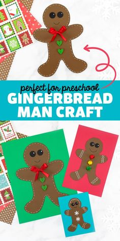 Gingerbread Man Craft - This easy gingerbread man craft is perfect for preschoolers and kindergartners to decorate at Christmas! All you need is our free template, paper or felt, ribbon, buttons, scissors, and glue! Follow Fireflies and Mud Pies on Pinterest for more Christmas crafts for kids! Arts And Crafts For Kids Toddlers, Christmas Activities For Kids, Crafts For Kids To Make, Christmas Crafts For Kids, Toddler Crafts, Holiday Crafts, Kid Crafts, Gingerbread Man Template, Gingerbread Man Crafts