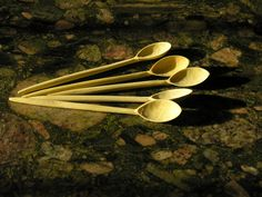 Tea-spoons made by an elderly master wood worker in Marrakesh. Found at:  http://naturalspasupplies.co.uk/shop-2/wooden-spoon-handmade-teaspoon-or-eating-spoon/#