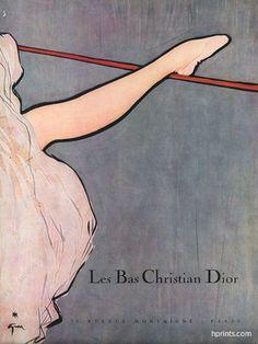 René Gruau Christian Dior Really good except her leg isn't even turned out: Lingerie Vintage, French Lingerie, Christian Dior, Vintage Vogue, Vintage Ads, Vintage Fashion, Fashion Collage, Fashion Art, Lido De Paris