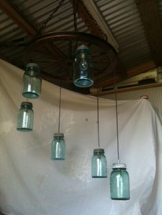 Mason Jar/Wagon Wheel Chandelier