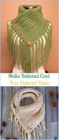 Crochet Malia Buttoned Cowl Scarf Free Pattern - Crochet Infinity Scarf Free Patterns