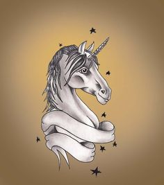 "Unicorn Tattoo Design This design with a text saying ""born this way"" and a rainbow in the background! Pretty Tattoos, Cool Tattoos, Unicorn Tattoos, Tattoo Designs, Tattoo Ideas, Body Art, Feather, Geek Stuff, Deviantart"