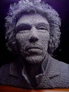 Artist Ivan Lovatt made a sculpture of Jimi Hendrix using chicken wire.
