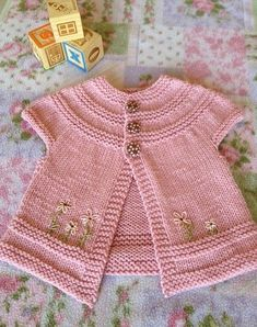 Stricken in threes: a baby cardigan pattern by Kelly Herdrich, Baby Knitting Patterns, Baby Cardigan Knitting Pattern, Knitting For Kids, Baby Patterns, Free Knitting, Cardigan Bebe, Knit Baby Dress, Knit Baby Sweaters, Knitted Baby