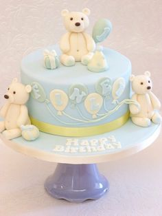 Teddy & balloon cake