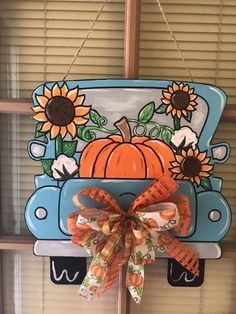Excited to share the latest addition to my shop: Fall truck door hanger. Halloween Door Hangers, Fall Door Hangers, Burlap Door Hangers, Wooden Hangers, Painted Doors, Wood Doors, Truck Crafts, Pumpkin Door Hanger, Wooden Truck
