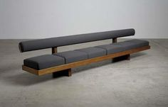 View 'Sandoz' bench, from Sandoz Pharmaceutical Laboratories, Rueil Malmaison, France by Charlotte Perriand sold at Design on 24 Apr London. Home Decor Furniture, Sofa Furniture, Furniture Design, Wooden Sofa Set Designs, Wooden Couch, Sofa Bed Design, Diy Sofa, Decoration, Charlotte Perriand