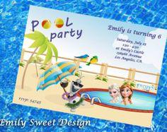 Disney Frozen Pool Party Invitation, Summer Frozen invitation / Digital file Frozen invitation, Frozen Birthday Party, Disney Olaf pool pary