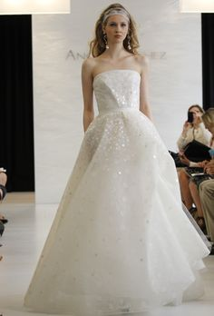 Angel Sanchez - Spring 2013. Strapless organza A-line wedding dress with sequin details