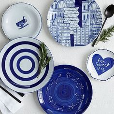 Collector's Editions Dinnerware - Blue Graphic #westelm I adore that constellation salad plate!