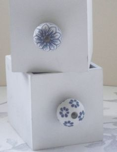 Vintage Style Blue Flower Ceramic Cupboard Door Knob Drawer Pull | eBay