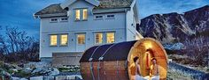 Lodging for corporate groups with the barrel sauna in front at #HattvikaLodge…