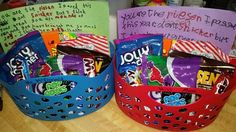 End of the school year teacher appreciation candy gift baskets with handwritten letters from the kids.