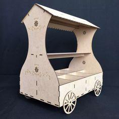 carrito dulcero para mesa de dulces y postres mdf gmbs028