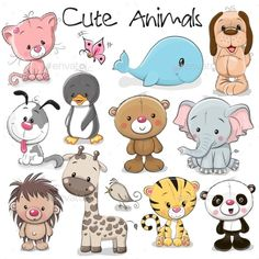 Set of Cute Animals on a white background animals baby animals cats Pandas puppies animals Cute Cartoon Animals, Cartoon Dog, Cute Baby Animals, Funny Animals, Wild Animals, Cute Animals To Draw, Baby Animal Names, Cute Animal Clipart, Cutest Animals