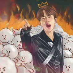 When someone insults Worldwide Handsome Jin 🤦🏽♀️💣💜💜💜💜💜💜💜💜💜💜💜💜👏🏼👌🏼✌🏼 Kpop Fanart, Namjin, K Pop, Bts Jin, Bts Jungkook, Chibi Bts, Bts Spring Day, Kpop Drawings, Fanarts Anime