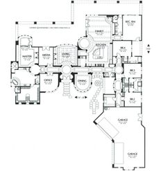 Mediterranean House Plan with 4 Bedrooms and Baths - Plan 6711 Luxury House Plans, Dream House Plans, House Floor Plans, The Plan, How To Plan, Home Design Plans, Plan Design, Architectural Floor Plans, Courtyard House Plans