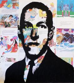 a Simple portrait of author H.P. Lovecraft painted on the pages of old Disney Books. Artist- Franscois Potgieter