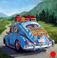 Cars — Susie Cipolla Art - - Cars — Susie Cipolla Art Art: Behind the Wheel Road Trip by Susie Cipolla Volkswagen, Art Gallery, Rock Poster, Art Watercolor, Galerie D'art, Car Drawings, Car Painting, Art Cars, Pop Art