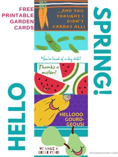 Share these PUNNY printable garden cards with your friends, family, and even strangers! Indoor Activities For Kids, Spring Activities, Free Printable Cards, Free Printables, Welcome Spring, How To Get Warm, Hello Spring, Spring Crafts, Diy Gifts