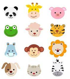 Comic Tiere Kopf Gesichter, 300 dpi EPS P - Caras de animales - Cartoon Jungle Party, Safari Party, Jungle Theme, Jungle Animals, Baby Animals, Cute Animals, Cartoon Faces, Cartoon Dog, Zebra Cartoon