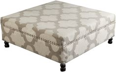 Our Frontier Moroccan Ottoman Ivory & Gray lends stylish appeal to modern bedrooms and living rooms. Emblazoned on a marvelous Moroccan pattern, this exquisite ottoman offers both trend worthy design and classic coloring to any space. Featuring a bold square construction with brilliant brass nail head accents, this piece will easily become the envy of any it encounters.