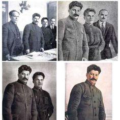 A Stalin le habría encantado Photoshop si hubiera existido en su época. El líder soviético adoraba el retoque fotográfico, pero no para ocultar sus imperfecciones, sino para asegurarse de que sus oponentes políticos no le robaban demasiada atención. Había incluso un servicio encargado de asegurarse de que Stalin fuera siempre el centro de atención. #imágenes #retoques #fotos #modificación #servicio #staline #Rusia http://www.pandabuzz.com/es/anecdota-del-dia/stalin-fotos-retocadas