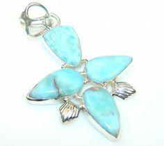 Sweet Blue Larimar Sterling Silver Pendant