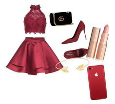 """""""All Red Night"""" by prettyliarxs on Polyvore featuring Alyce Paris, Sergio Rossi, Gucci and Lord & Taylor"""