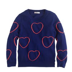 Girls' framed heart sweater : popovers | J.Crew