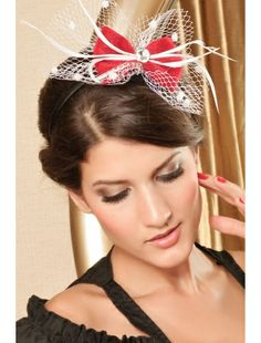 Red Victorian Hair Hoop With Bow And Net- a resin diamond and feather details| Headgear | Accesories | StringsAndMe