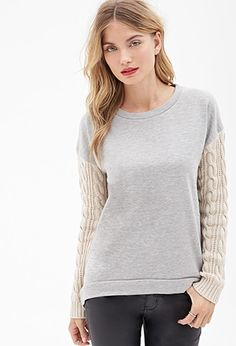 Contemporary Cable Knit-Paneled Sweater