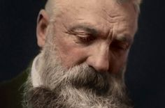 Sculptor Auguste Rodin Colorization from a B&W photo taken in a documentary movie. It makes him closer to us and not just a memory! Auguste Rodin, Famous Artists, Documentary, Closer, Memories, Memoirs, Souvenirs, The Documentary, Documentaries