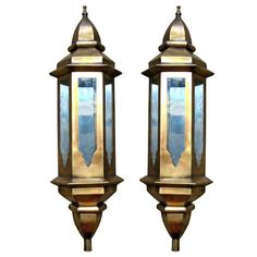 Pair of Tall Metal Moroccan Wall Lanterns with Mirror Interior 1