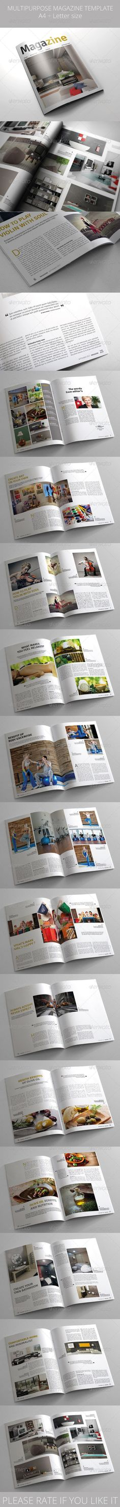 Multipurpose Magazine Template by batebata Multipurpose Magazine Template (28 pages) This is a professional and clean InDesign magazine template that can be used for any typ