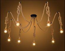 Sanat dekorasyon DIY el yapımı vintage loft kenevir halat avize ışıkları retro örümcek tavan ışıkları yemek odası için(China (Mainland))