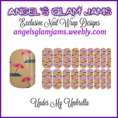 Under My Umbrella Jamberry Nail Wraps by Angel's Glam Jams  ORDER HERE: http://angelsglamjams.weebly.com/under-my-umbrella.html  #beachumbrella #umbrella #beach #pink #turquoise #brown #sand #jamberry #nailwraps