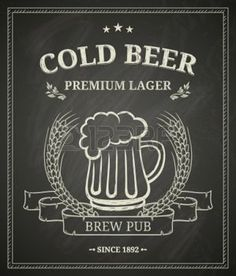 beer mug: Cold beer poster on chalkboard